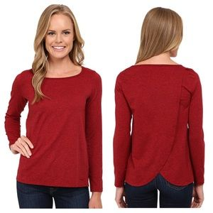 Patagonia Back Wrap Top Red Split Long Sleeve Soft